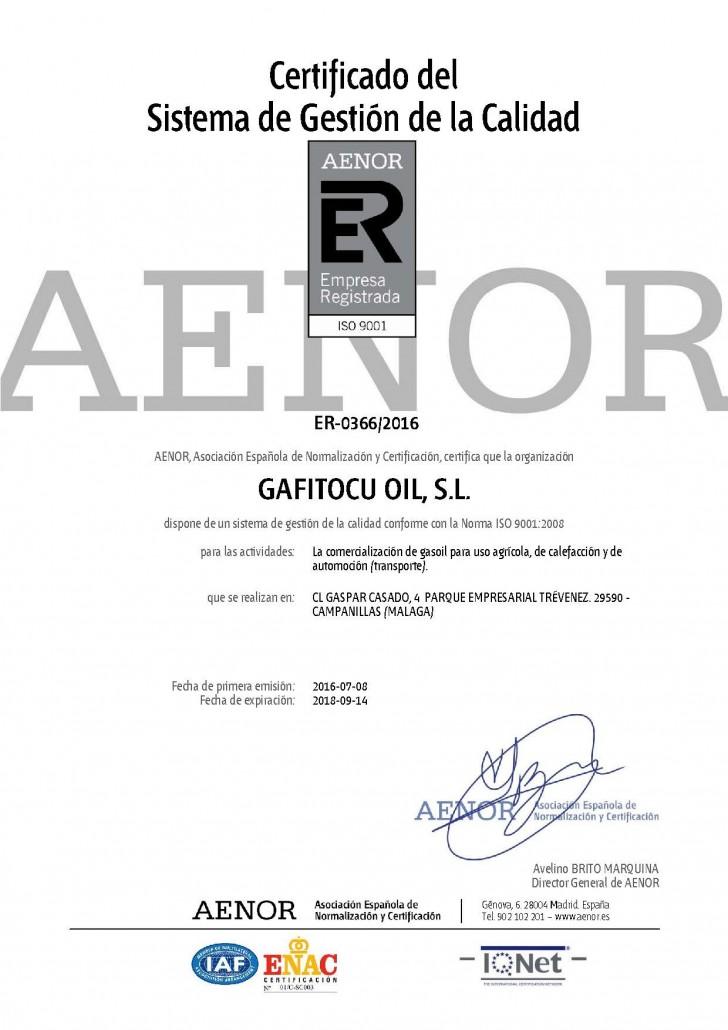Certificado del Sistema de gestion de la calidad AENOR gafitocuoil
