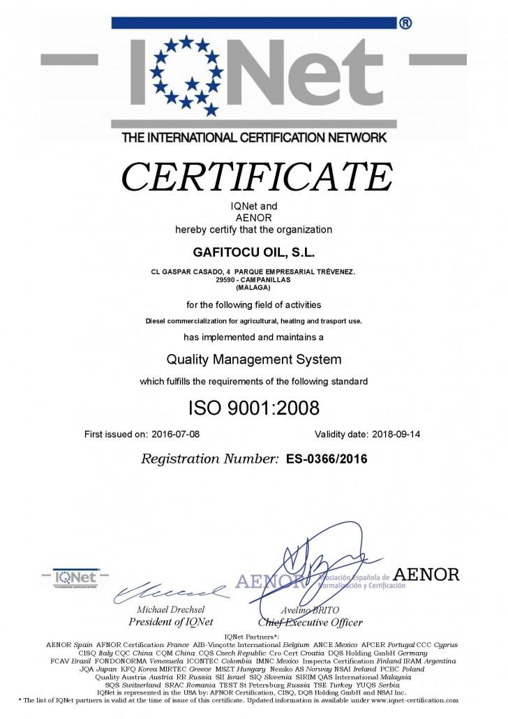 Certificado del Sistema de gestion de la calidad ISO 9001 2008 AENOR gafitocuoil