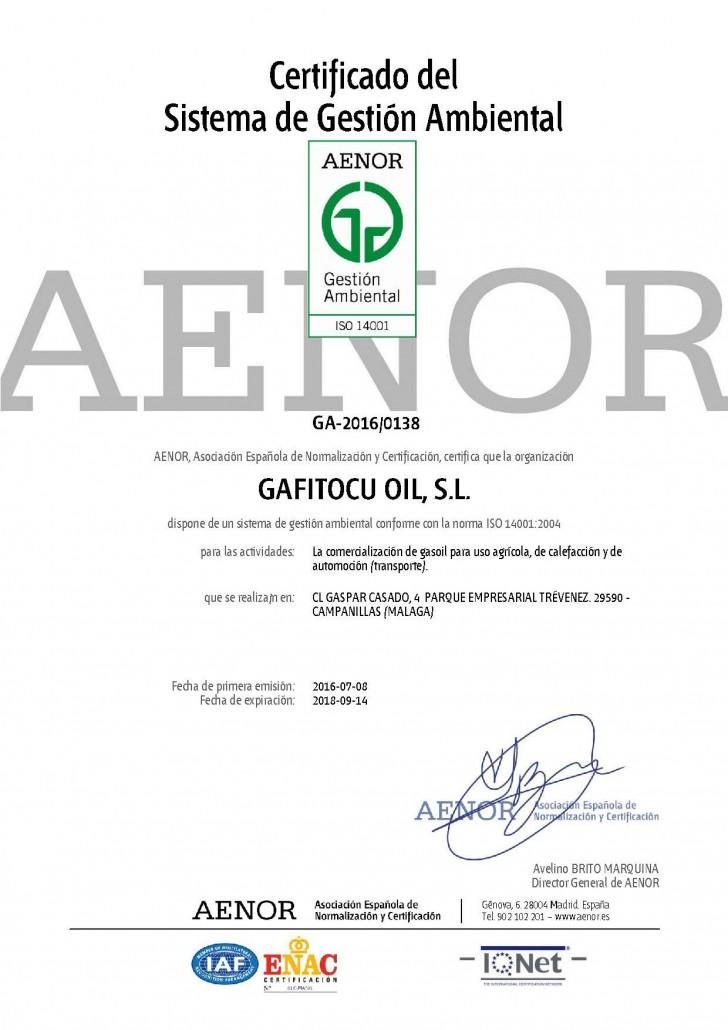 Certificado del sistema de gestion ambiental AENOR ISO 14001 gafitocuoil