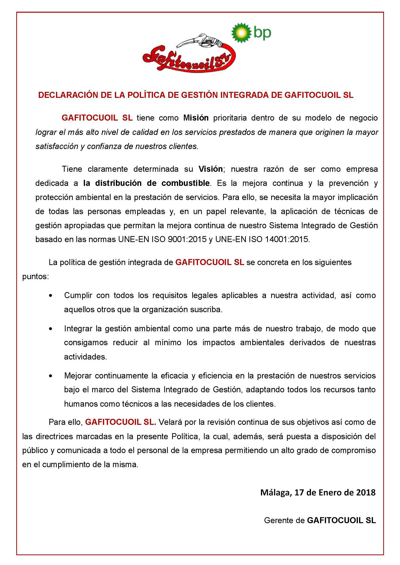 POLITICA CALIDAD Y MEDIO AMBIENTE